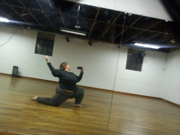 Lunge with an arm.