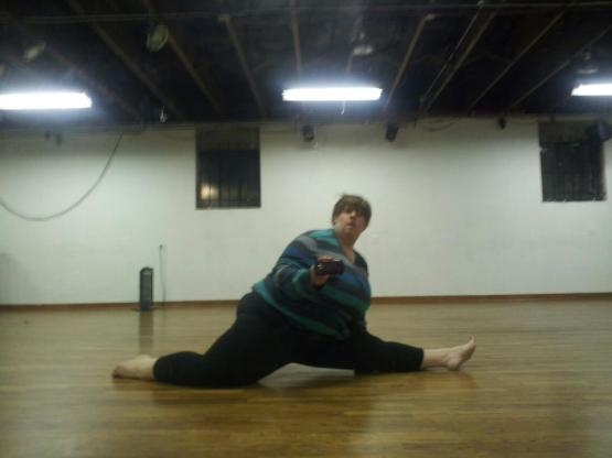Attempted front split, right side.